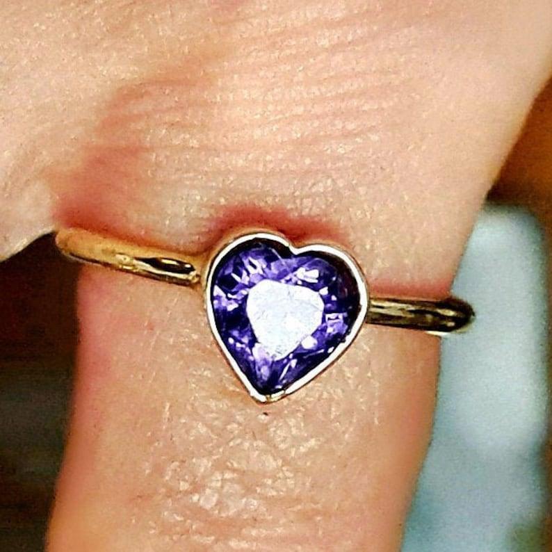 Amethyst Heart Ring  14k Gold Ring  Handmade image 1