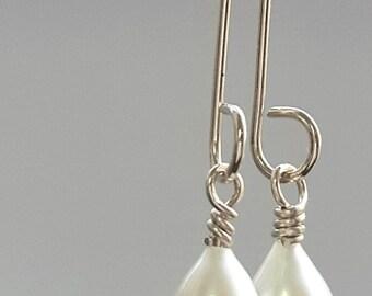 White Pearl Drop Earrings, Silver Dangle Earrings, Wedding Earrings, Handmade Earrings, White Drop Pearl Earrings, Bridal Jewelry