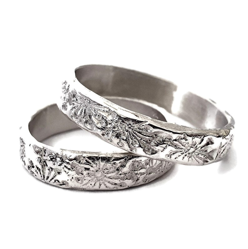 Dandelion Ring  Romantic Wedding Band  925 Silver Ring image 0