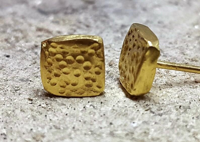 22k Gold Dainty Square Stud Earrings image 0
