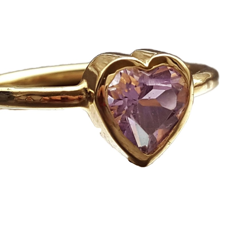 Amethyst Heart Ring in 14k Gold image 0