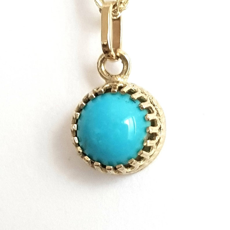 14k Gold Necklace With Turquoise Crown image 0