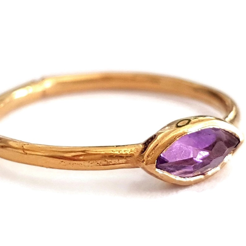 Amethyst Ring  14k Yellow Gold  Marquise Ring image 0