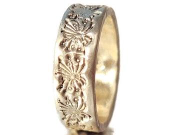 Silver Dandelion Ring - Handmade