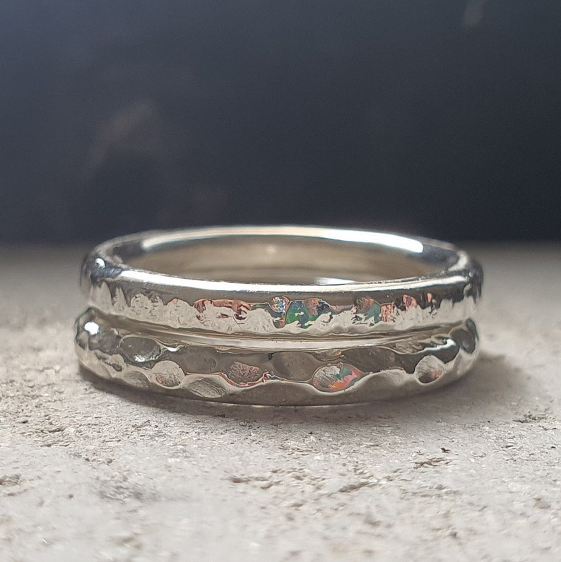 Silver Stacking Rings Set  Strips & Waves  Handmade image 0