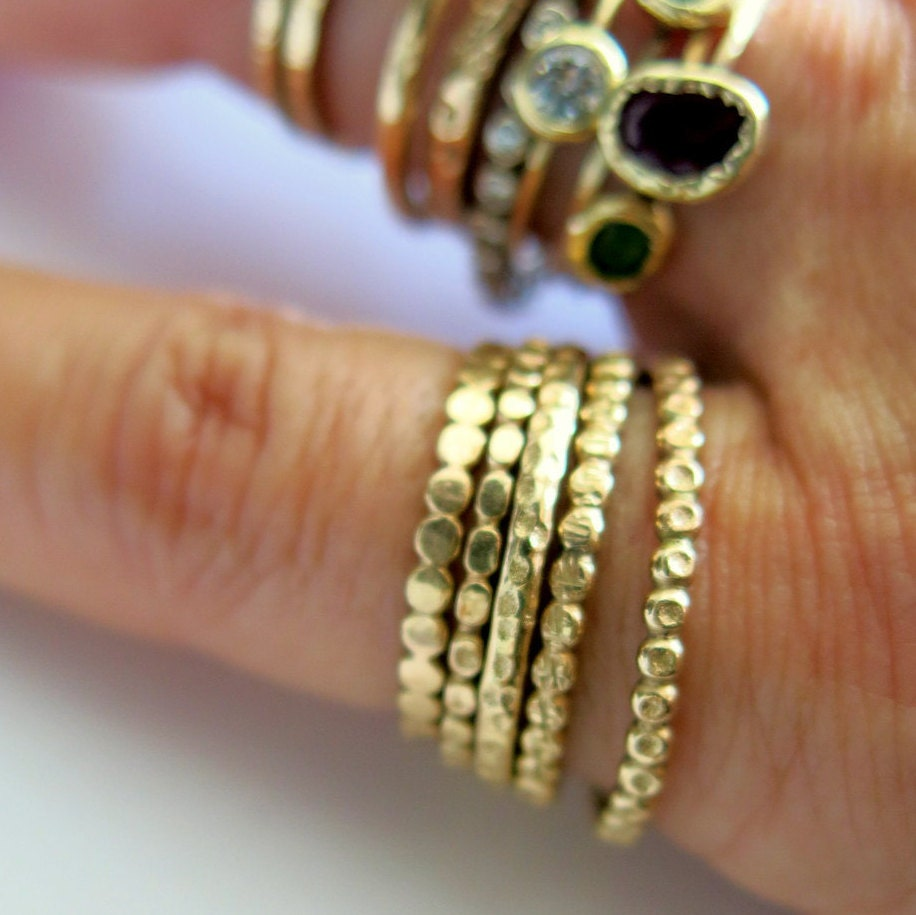 Beaded Dotted Stacking Band Ring, Trendy Ring, Handmade, Engagement Band Ring