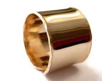 Smooth & Shiny Ring - Wide Adjustable 14k Gold Filled Ring - Handmade