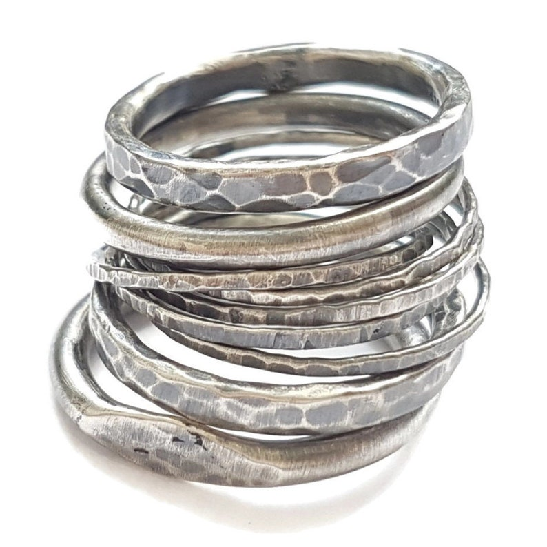 Five Oxidized Silver Rings image 0