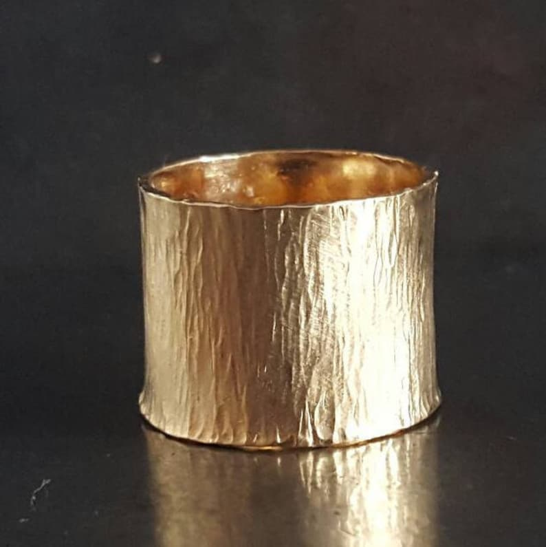 Rustic Striped Ring  14mm Wide Adjustable Band  Gold Filled image 0
