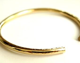 Gold Filled Open Bangle Bracelet, Handmade Modern Bracelet