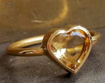 Heart Ring - Citrine Scorpio Ring - 14k Yellow Gold Ring - Handmade