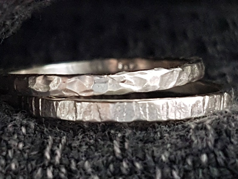 Sterling Silver Hammered Rings  Set of Two image 0
