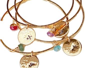 Charm Bracelet - Initial Stamped Disc - Gemstones Charm Choice - Handmade Bracelet