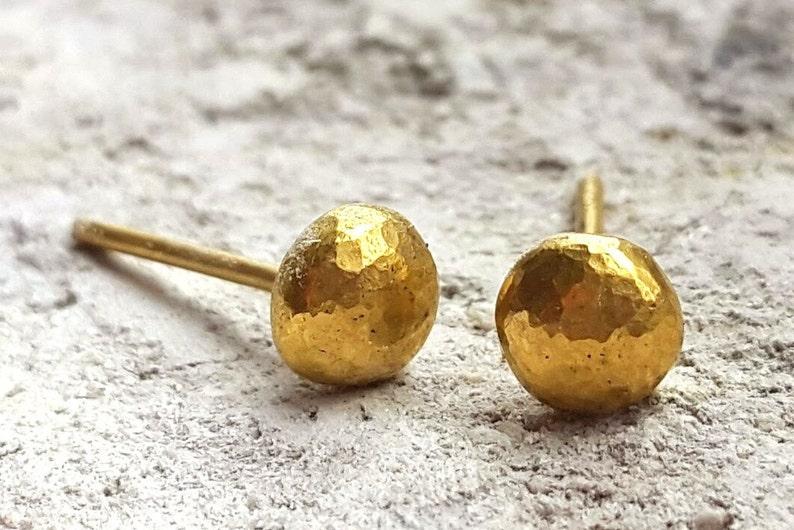 14k Gold Half Ball Stud Earrings