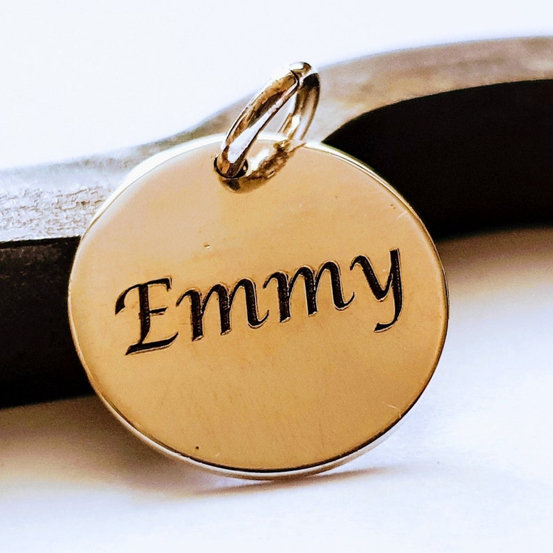 14k Gold Name Necklace  Personalized Disc Charm image 0