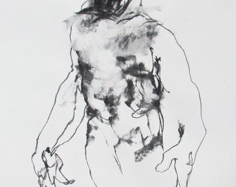 """Original Drawing, Abstract Male Figure Line Drawing, 18x24"""", Black and White Art """"Drawing 173"""" Gallery Wall Art, Bold Abstract Figure Sketch"""