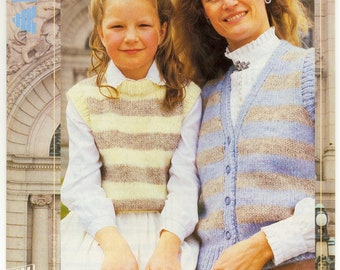 7a713192dba58 Mother and Daughter Striped Waistcoat and Top - Vintage Knitting Pattern -  Patons Chunky Knitting Pattern - ORIGINAL