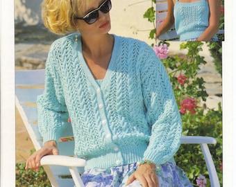 Camisole and Cardigan Ladies Twinset  - Vintage Knitting Pattern - Vintage Patons Knitting Pattern ORIGINAL