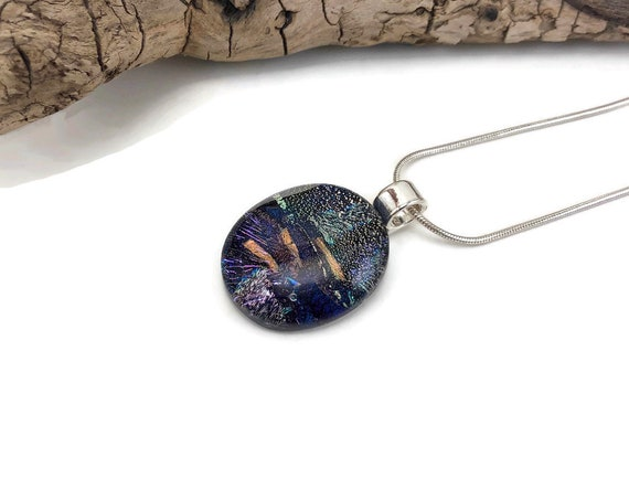 Dichroic glass pendant, unique jewelry, statement jewelry, Glass Jewelry, Gifts for her, jewelry for her, Fused glass Necklace, unique gifts