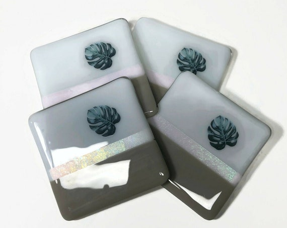 Grey and white coasters, Fused Glass Art, plant drink coasters, unique gifts for her, monstera home decor, Best friend gifts, plant lover