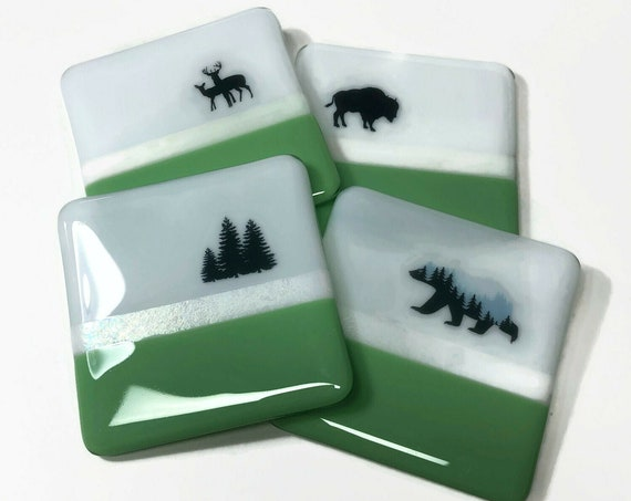 Fused Glass Art, bear drink coasters, unique gifts for her, wildlife home decor, Best friend gifts, bear lover