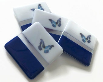 Coasters, blue butterfly coasters, fused glass Art, butterfly home decor, butterfly lover gifts, coffee table art, Best friend gifts