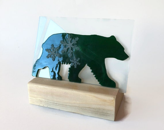 Bear candle holder, Glass art, unique art, Christmas decor, Fused Glass art, unique art, glass home decor, unique gifts for mom, gifts