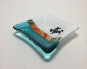 Fused glass, cowboy plate, handmade glass dish, themed dish, art, home decor, jewelry dish, candy dish, spoonrest, dish, fused glass plate