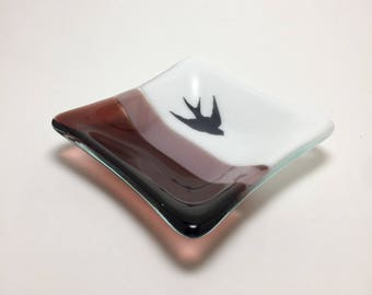 Fused glass, sparrow plate, handmade glass dish, themed dish, art, home decor, jewelry dish, candy dish, spoonrest, dish, fused glass plate