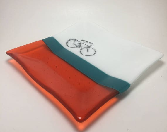 Fused glass plate, unique gifts for him, Unique art, bike home decor, bike lover, bike plate, glass candy dish, fused glass dish, bikes