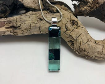 glass necklace, dichroic glass pendant, Glass Pendant, Fused Glass Jewelry, dichroic glass necklace, glass jewelry, fused glass necklace