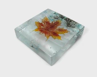 Fused glass art, maple leaf, glass art, glass leaves, home decor, unique art, paper weight, glass paper weight, table decor, Glass ornament