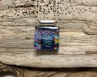 Jewelry, pendant, necklace, Dichroic glass pendant, dichroic glass jewelry, dichroic glass, fused glass, handmade fused glass, glass jewelry