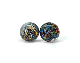 Dichroic Glass earrings, fused glass earrings, dichroic glass jewelry, glass studs, dichroic glass stud, glass jewelry, Stud earrings, glass