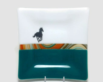 glass plate, horse dish, glass dish, themed dish, glass art, home decor, jewelry dish, candy dish, spoonrest, dish, fused glass plate
