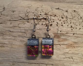 Dichroic glass jewelry, fused glass jewelry, fused glass earrings, dichroic glass earrings, glass jewelry, Dangle earrings, glass earrings