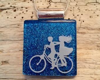 Dichroic glass jewelry, bike pendant, Dichroic Glass Pendant, Fused Glass Jewelry, Fused glass pendant, glass Necklace, Dichroic Glass