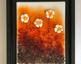 Glass art, handmade fused glass, fused glass wall panel, Fused Glass art, handmade fused glass panel, fused glass wall art, glass flowers
