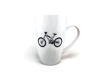 Coffee mug, hand painted porcelain mug, glass art, gift, coffee cup, ceramic mug, bike themed mug, handmade mug, home decor, tea mug
