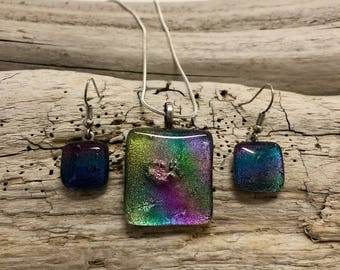 Jewelry, Dichroic glass pendant and earring set, dichroic glass jewelry, dichroic glass, fused glass, handmade fused glass, glass jewelry