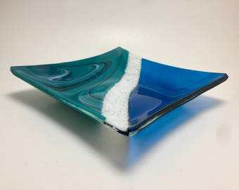 Fused glass plate, glass bowl, handmade glass dish, glass plate, home decor, jewelry dish, candy dish, spoonrest, dish, fused glass plate