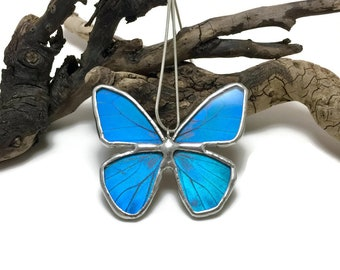 butterfly pendant, blue butterfly, Real Butterfly Wing Necklace, Blue morpho Pendant, handmade butterfly pendant, butterly wing, insect