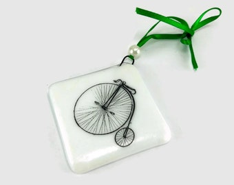Fused glass, ornament, bike, glass, handmade, home decor,handmade glass ornament, handmade fused glass, ornament, Christmas ornament