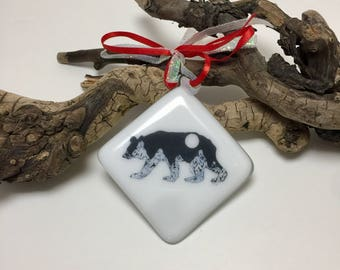 Fused glass, mountains, bears, handmade, art, home decor,handmade fused glass ornament, handmade fused glass, ornament, Christmas ornament