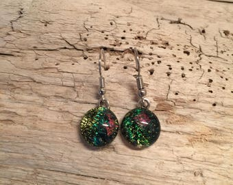 Glass Jewelry, Dichroic glass jewelry, dichroic glass earring, fused glass jewelry, fused glass earrings, Dichroic Glass Dangle earrings