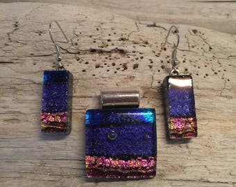 Glass jewelry, Dichroic glass pendant, glass earring, dichroic glass jewelry, glass pendant, fused glass jewelry, glass jewelry, glass