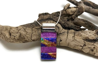 glass pendant, dichroic glass pendant, dichroic, Dichroic Pendant, Fused Glass Jewelry, handmade dichroic glass, glass pendant, glass