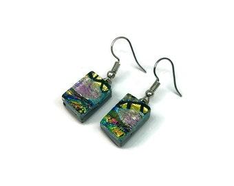 Dichroic glass earrings, glass earrings, fused glass earrings, dichroic glass, dichroic glass earrings, Dichroic Glass Dangle earrings