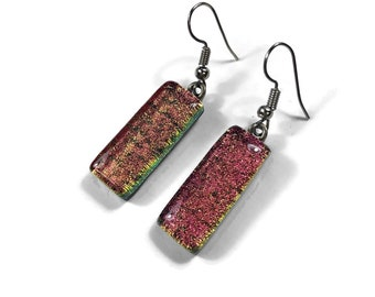 Glass earrings, Dichroic glass earrings, glass dangle earrings, fused glass, fused glass earrings, Dichroic Glass Dangle earrings