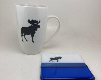 Fused glass art, Coffee mug, tea mug, glass coaster, glass coaster, glass, moose mug, handmade mug, home decor, tea mug, fused glass coaster